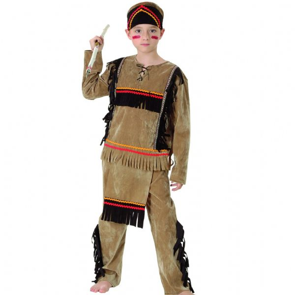Boys Indian Boy Deluxe Costume Native Wild West American Cowboys Fancy Dress